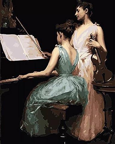Obella Peinture par numéros Kits issu de la gamme élégant Musique Art 50x 40cm issu de la gamme Peinture par numéros numériques, peinture à l'huile, sans cadre