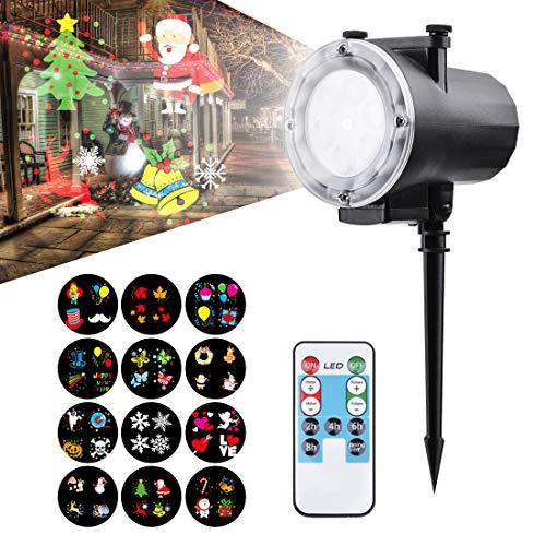 Super-hd-sockel (Led Projektionslampe, Super Helle LED Effektlicht mit 12 Ersetzbaren Motiven, Wasserdicht IP65 Projektor Weihnachten für Karneval, Festen und Dekoration, Reichweite bis 15-30 Meter (Verbesserter))