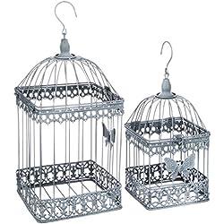 Juego de 2 jaulas de decorativas – estilo hierro forjado – Color Gris desgastado blanco