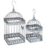 Set di 2 gabbie per uccelli decorative - Stile ferro battuto - Colore: GRIGIO patinato di bianco