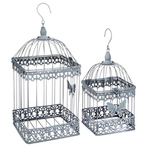 2-teiliges Set aus dekorativen Vogelkäfigen - schmiedeeiserner Stil - Farbe GRAU mit WEIßEM Patina