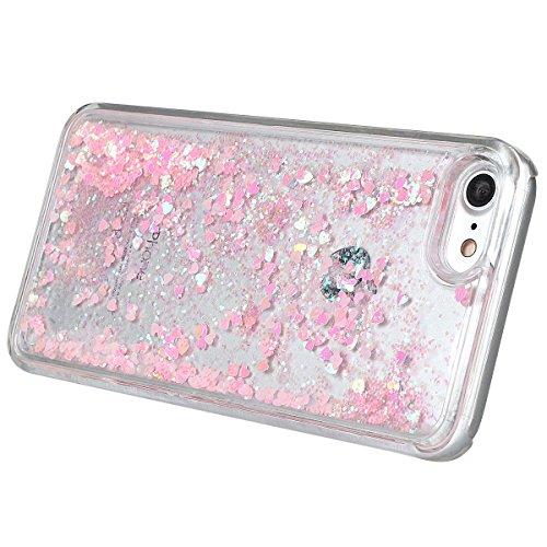 """xhorizon MLK Couverture housse avec arrière dure avec dessin de sables mouvants liquides dynamiques bling et coeur scintillantes pour iPhone 7/iPhone 8 [4.7""""] avec un stylet et une Bouchon de poussièr Rose"""
