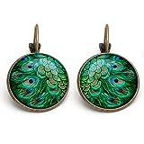 Simsly Fashion orecchini con piume di pavone vintage gioielli per donne e ragazze (bronzo/1PAIR)
