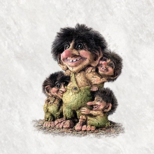 ORIGINAL NORWEGISCHE TROLLE * NyForm Troll mit Zertifikat 267 * Troll mit 3 Kindern 18cm
