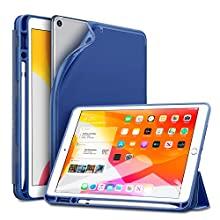 ESR for iPad 7th Generation Case with Pencil Holder, Auto Sleep/Wake Function Rebound Trifold Smart Case for iPad 10.2 Inch 2019, Multiple Viewing Stand Case with Soft Flexible TPU Back Cover - Blue