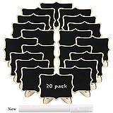 Mini Tafeln Rechteck Memotafel Hochzeit Party Holz Tischkarte mit Ständer 9,5x7,5 cm - 20 Stücke + einem Weiß Marker