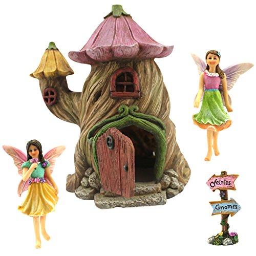 Feegartenhaus –Zubehörset und Miniatur-Feen–Haus ist 18 cm (7 Zoll) hoch–Tür kann breit geöffnet werden–von Pretmanns