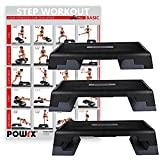 POWRX Profi Aerobic Fitness Step inkl. Workout I Steppbrett Stepper