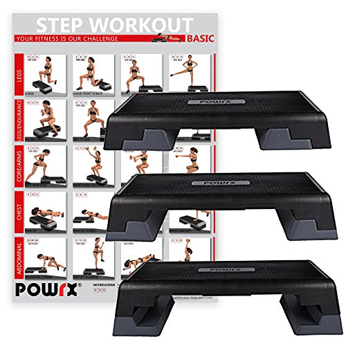 POWRX Profi Aerobic Steppbrett inkl. Workout I Stepper Stepbench Step I Maße: 89x34cm x Höhe bis max. 25cm verstellbar