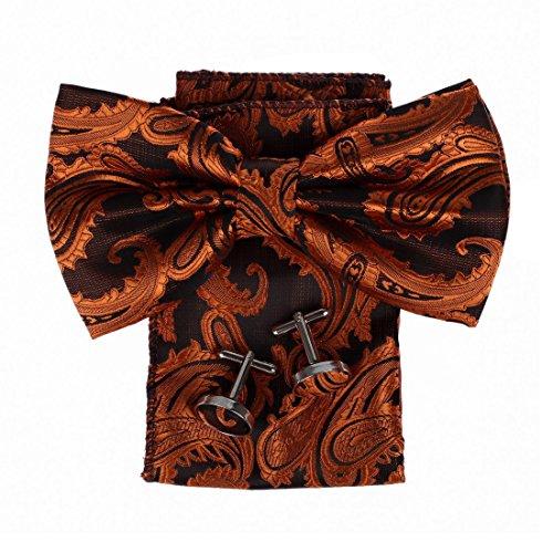 DBC3B01H Idea anaranjado oscuro con dibujos regalo para el trabajo-Utilidad de tejido de microfibra Pre-atadas Regalos Pajarita Hanky ??Gemelos de cumplea?os para hombre Por Dan Smith