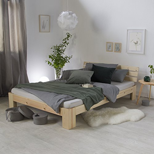 Homestyle4u 1839 Holzbett 180×200 cm Natur Doppelbett mit Lattenrost aus Kiefer Massivholz