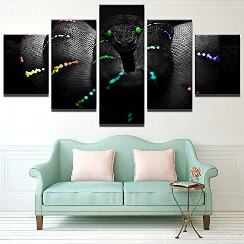 RMRM Leinwand Kunst Wandkunst Leinwand Malstil Wandrahmen Bilder 5 Stück Razer Für Wohnzimmer Decor Tier Schlange Malerei 20x35cm20x45cm 20x55cm - Schlange Leinwand