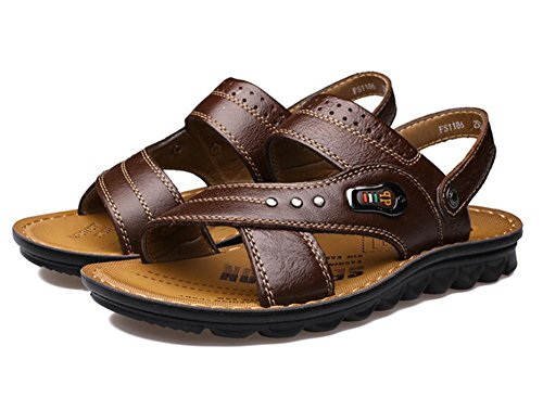 2017 nuovi sandali della spiaggia degli uomini, pantofole in pelle scarpe traspiranti della pelle bovina Brown