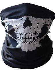 GODHL calavera esqueleto media cara cuello Bandana máscara bufanda Rave máscara negra