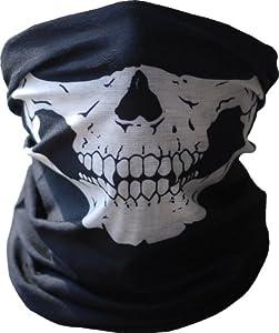Black Seamless Skull Face Tube Mask Buff