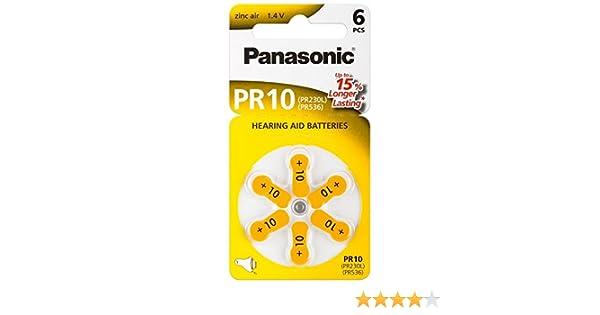 60x Panasonic Worldwide PR10 Hörgerätebatterien PR230L PR536 1,4V