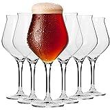 Krosno Bier-Tulpen Bier-Gläser | Probierglas | Set von 6 | 420 ML | Avant-Garde Kollektion | Perfekt für Zuhause, Restaurants und Partys | Spülmaschinenfest