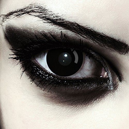 """Designlenses, Dos lentillas de color negro totalmente para Halloween zombie disfraz lentes sin dioprtías/corregir + gratis caso de lente """"Blackout"""""""