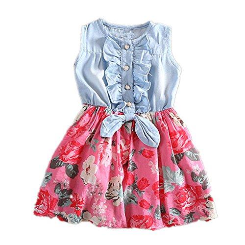 Babykleidung Honestyi Kleinkind Kinder Baby Mädchen Denim Bowknot Print Sleeveless Prinzessin Party Kleider (Weiß,90)
