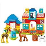 Wise Guys Farm Blocks Educational Toys Cat, Dog, Hen, Giraffe And More For Kids Construction Building Blocks 61 Pieces - Multi Color