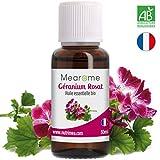 Huile Essentielle BIO de Géranium Rosat Mearome - 30 ml - 100% Pure et Naturelle - HEBBD - HECT - Qualité et Fabrication Française -ideal en aromatherapie anti ride & fermeté, diffusion : odeur fleurie