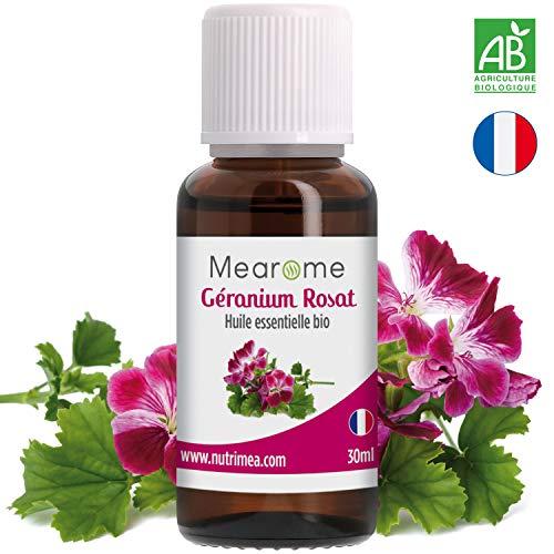 Huile Essentielle BIO de Géranium Rosat Mearome - 30 ml - 100% Pure et Naturelle -...