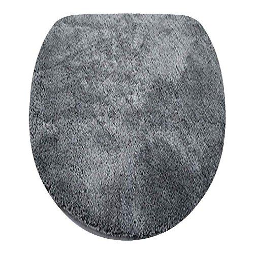 Fashionpillow Toilettendeckelbezug/WC-Stoffbezug - Mikrofaser-Klodeckelbezug, 15mm Flor, Gummizug, oval ca. 47x50cm, in der Farbe anthrazit