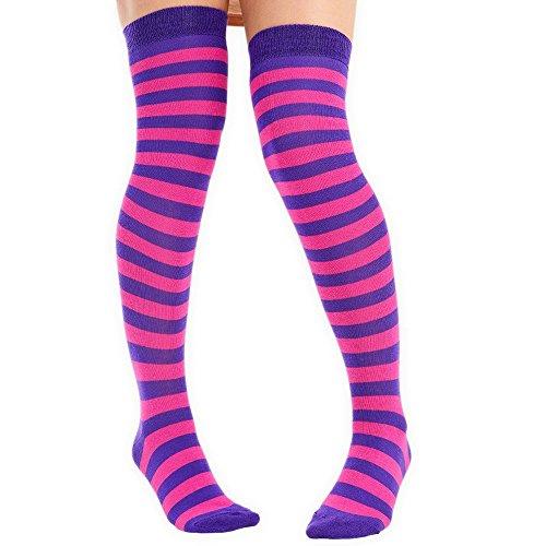 Damen Argyle Socken aus Baumwolle über dem Knie & Vollgestreift, Kniesocken Violett/Pink (Hoch Knie Argyle)