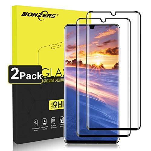 nonzers vetro temperato per huawei p30 pro, [2 pezzi] hd 9h durezza, 3d copertura completa pellicola vetro, senza bolle, anti-impronta, anti-olio pellicola protettiva per huawei p30 pro