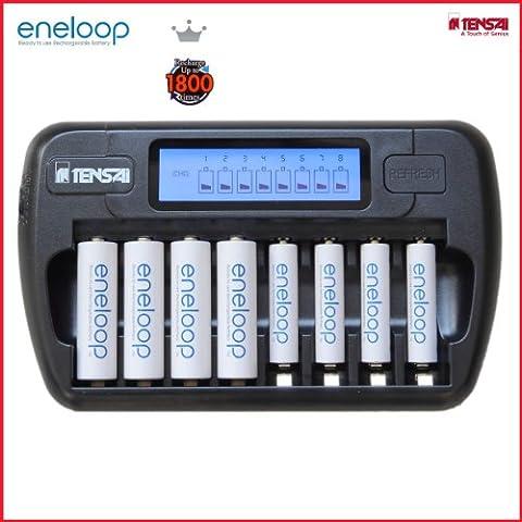 Tensai TI-800L HR-4UTGB - Cargador para 1-8 pilas AA/AAA (pantalla LCD, función de descarga, monitorización individual, cable de carga para coche, incluye 4 pilas AA y 4 pilas AAA)