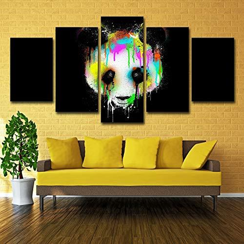 Leinwandbilder Wandkunst Wohnkultur Rahmen Wohnzimmer 5 Stücke Panda Bärenkopf Poster Hd Drucke Farbe Abstrakt Tiergemälde 5p0573 kein rahmen S: 8X12-2P 8X16-2P 8X20-1P zoll