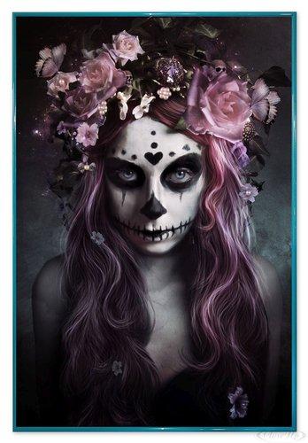 Close Up Tag der Toten Poster Tattoo Dia De Muertos (94x63,5 cm) gerahmt in: Rahmen türkis (Tag Der Toten Poster)