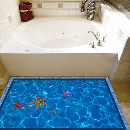 3d aufkleber einfache moderne schwimmbad bad wc dekoration boden aufkleber blau kreative seestern 60x90 cm