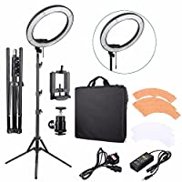 """EACHSHOT ES240 Kit {Including Light, Stand, Phone Clamp, Tripod Head }240 LED 18"""" Stepless Adjustable Ring Light Camera Photo/Video Portrait Photography 5500K Dimmable (Light Stand Included)"""