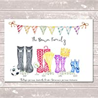 Personalised Wellington Boot Family Print Customised Wellies Rain Boot Welly Art Gift
