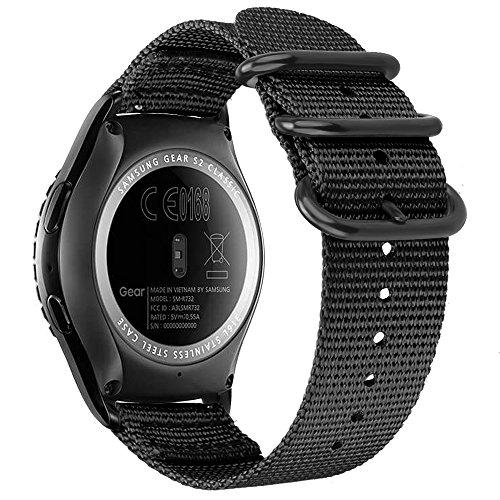 FINTIE Bracelet Compatible avec Samsung Galaxy Watch 42mm / Huawei Watch Active 2 / Gear Sport/Gear S2 Classic Montre Connectée - Bande de Remplacement Ajustable en Nylon Tissé, Noir
