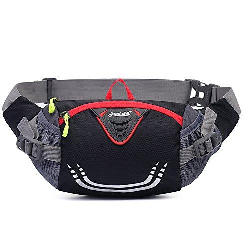 Ibssports Hüfttasche Multi-Function Gürteltasche Wasserabweisende Bauchtasche Flache Taille Tasche zum Sport und Reisen Schwarz