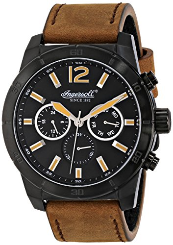 Ingersoll Quartz Lincoln Men's Quartz Watch with Black Dial Chronograph Display and Brown Leather Strap INQ014BRBK