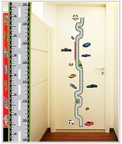 Cartoon car race track wall stickers per bambini camere crescita grafico altezza misura stickers murali poster cartoon bambini home decor