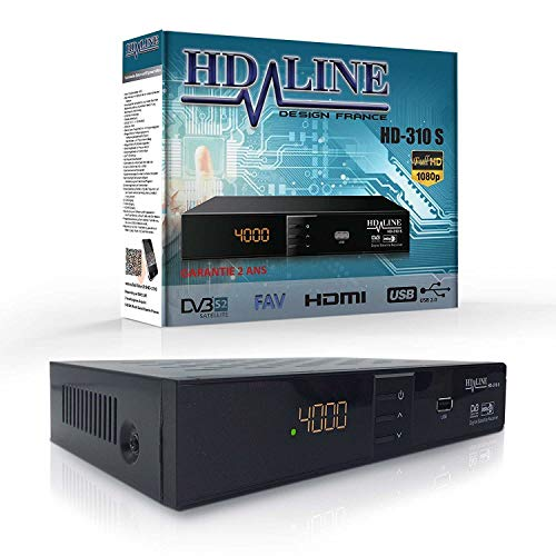 HD LINE 310 Sat Receiver Digitaler - Satelliten Receiver (HDTV, DVB-S/S2, FULL HD 1080P) [HDMI, SCART, 2X USB 2.0, VORPROGRAMMIERT für Astra Hotbird Türksat] Vorprogrammiert