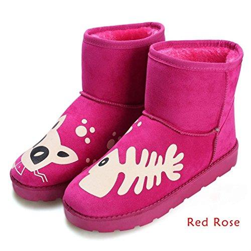 Minetom Femmes Hiver Chaudes Neige Bottes Flats Casual Bottes Confortable Chaussures Rose