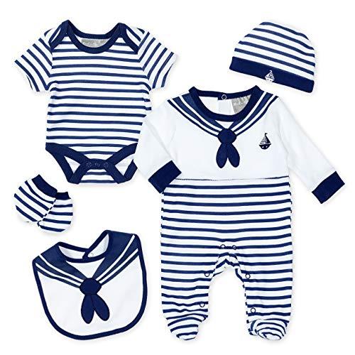 Rock-a-Bye Rock-A-Bye-Baby Baby Set Jungen navy weiß | Motiv: Matrose | 5 Teile Strampler, Body, Mütze, Handschuhe, Latz für Neugeborene & Kleinkinder | Größe: 0-3 Monate (62)