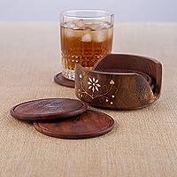 onlineshoppee de madera tallada Posavasos de té de juego de 6 placa con soporte mesa de