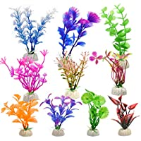WEONE Plantas Plásticas para Acuarios, 10 Piezas Altura Plantas Acuario para Decoración Acuario
