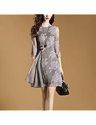 L'Europe Et Les États - Unis Women'S Dress Summer Slim Manches Imitation De La Mousseline De Soie