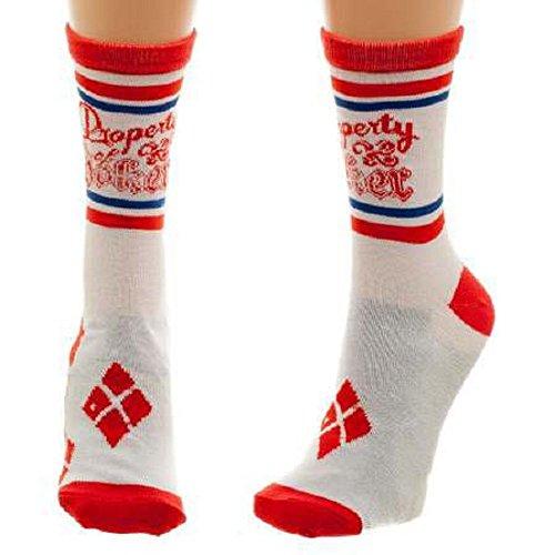 Meroncourt DC Comics Suicide Squad Property of Joker Crew Socks, Calcetines para Mujer, 100 DEN blanco