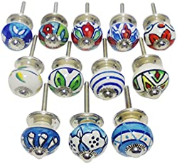 (SET OF 12)SMALL SIZE HANDPAINTED CERAMIC DOOR KNOBS DRAWER PULLS BLUE POTTERY