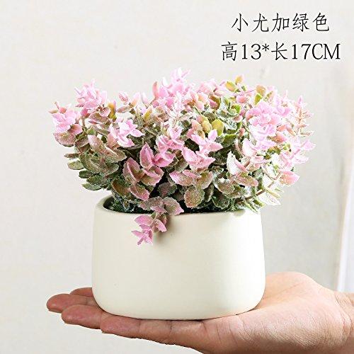 Fleurs artificielles Simulation simple table basse moderne décoration fleur fleurs meubles de jardin décoration d'ameublement de maison de l'usine de création de petites plantes en pot en pot,petite poudre Yuga