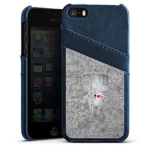 Apple iPhone 5s Housse Étui Protection Coque Robot C½ur Graphique Étui en cuir bleu marine