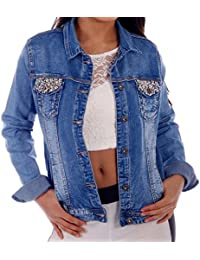Jeans Jacke Vintage Style mit Kunstperlen und Glitzersteinchen bis Groesse 44